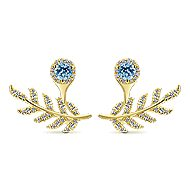 14k Yellow Gold Floral Peek A Boo Earrings angle 1