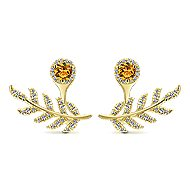 14k Yellow Gold Gemini Earrings Peek A Boo Earrings angle 1