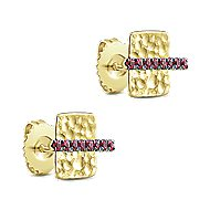14k Yellow Gold Hammered Square Ruby Bar Stud Earrings