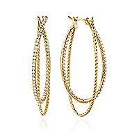 14k Yellow Gold Hampton Intricate Hoop Earrings angle 1