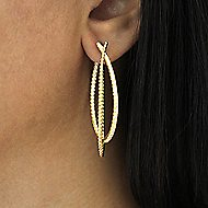 14k Yellow Gold Hampton Intricate Hoop Earrings angle 2
