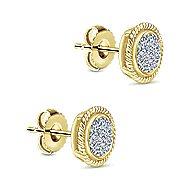 14k Yellow Gold Hampton Stud Earrings angle 2