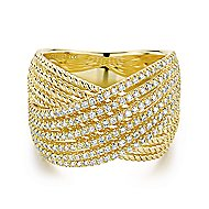 14k Yellow Gold Hampton Twisted Ladies' Ring angle 1