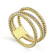 14k Yellow Gold Hampton Twisted Ladies' Ring angle 3