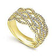 14k Yellow Gold Hampton Wide Band Ladies Ring
