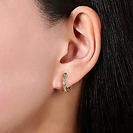 14k Yellow Gold Huggies Huggie Earrings angle 2