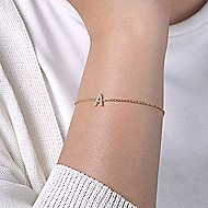 14k Yellow Gold Initial Bracelet angle 4
