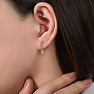 14k Yellow Gold Kaslique Huggie Drop Earrings angle 2