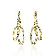 14k Yellow Gold Kaslique Intricate Hoop Earrings angle 3