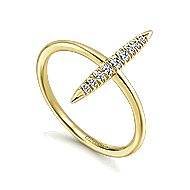 14k Yellow Gold Kaslique Midi Ladies' Ring angle 3