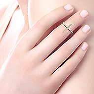 14k Yellow Gold Kaslique Midi Ladies' Ring angle 5