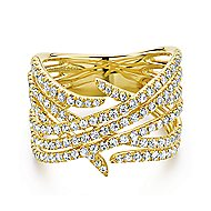 14k Yellow Gold Kaslique Twisted Ladies' Ring angle 1