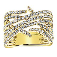 14k Yellow Gold Kaslique Twisted Ladies' Ring angle 4