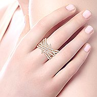 14k Yellow Gold Kaslique Twisted Ladies' Ring angle 5