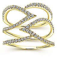 14k Yellow Gold Kaslique Wide Band Ladies' Ring angle 4