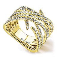 14k Yellow Gold Kaslique Wide Band Ladies' Ring angle 3