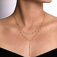 14k Yellow Gold Kaslique Y Knots Necklace angle 3