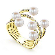 14k Yellow Gold Layered Wide Band Cultured Pearl Ladies Fashion Ring