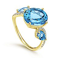 14k Yellow Gold Lusso Color Classic Ladies' Ring angle 3