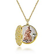 14k Yellow Gold Lusso Diamond Locket Necklace angle 2