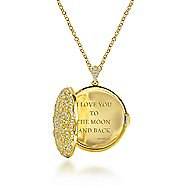 14k Yellow Gold Lusso Diamond Locket Necklace angle 3