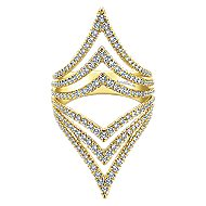 14k Yellow Gold Lusso Diamond Statement Ladies' Ring angle 1