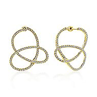 14k Yellow Gold Lusso Intricate Hoop Earrings angle 1
