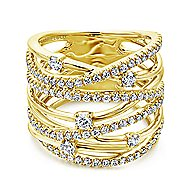 14k Yellow Gold Lusso Twisted Ladies' Ring