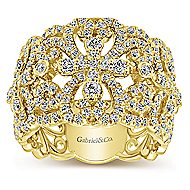 14k Yellow Gold Lusso Wide Band Ladies' Ring