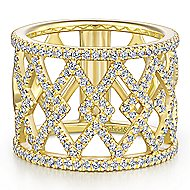 14k Yellow Gold Lusso Wide Band Ladies' Ring angle 1