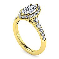 14k Yellow Gold Marquise  Halo Engagement Ring