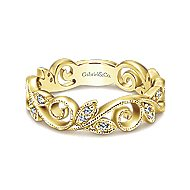 14k Yellow Gold Midi Ladies' Ring angle 1