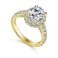 14k Yellow Gold Oval Halo Engagement Ring angle 3