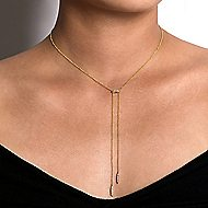 14k Yellow Gold Petite Pave Diamond Bar Y Knot Necklace