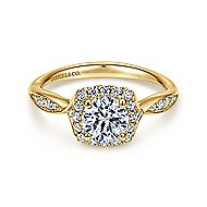 14k Yellow Gold Round Halo Engagement Ring angle 1