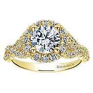 14k Yellow Gold Round Halo Engagement Ring angle 5