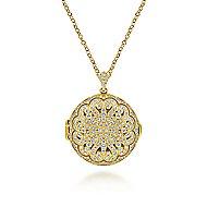 14k Yellow Gold Round Openwork Diamond Locket Necklace