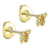 14k Yellow Gold Secret Garden Stud Earrings angle 2