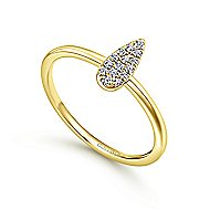 14k Yellow Gold Silk Midi Ladies' Ring angle 3
