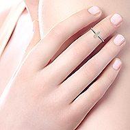 14k Yellow Gold Silk Midi Ladies' Ring angle 5