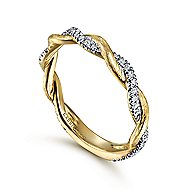 14k Yellow Gold Stackable Dual Band Ladies Ring