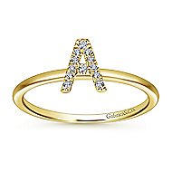14k Yellow Gold Stackable Initial Ladies' Ring