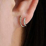 14k Yellow Gold Trends Stud Earrings angle 4