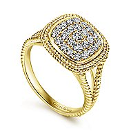 14k Yellow Gold Twisted Pave Diamond Fashion Ring