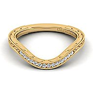 14k Yellow Gold Victorian Curved Wedding Band angle 1
