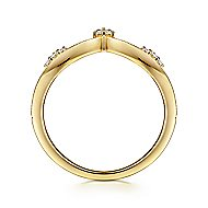 14k Yellow Gold Victorian Fashion Ladies' Ring angle 2