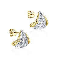 14k Yellow/White Gold Diamond Wrap Around Stud Earrings