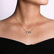 14k Yellow/White Gold Interlocking Oval Diamond Fashion Necklace