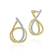 14k Yellow/White Gold Intricate Twisted Diamond Hoop Earrings angle 1