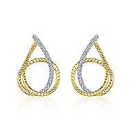14k Yellow/White Gold Intricate Twisted Diamond Hoop Earrings angle 3